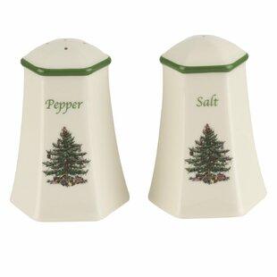 Christmas Tree Hexagonal Salt & Pepper Shaker Set By Spode