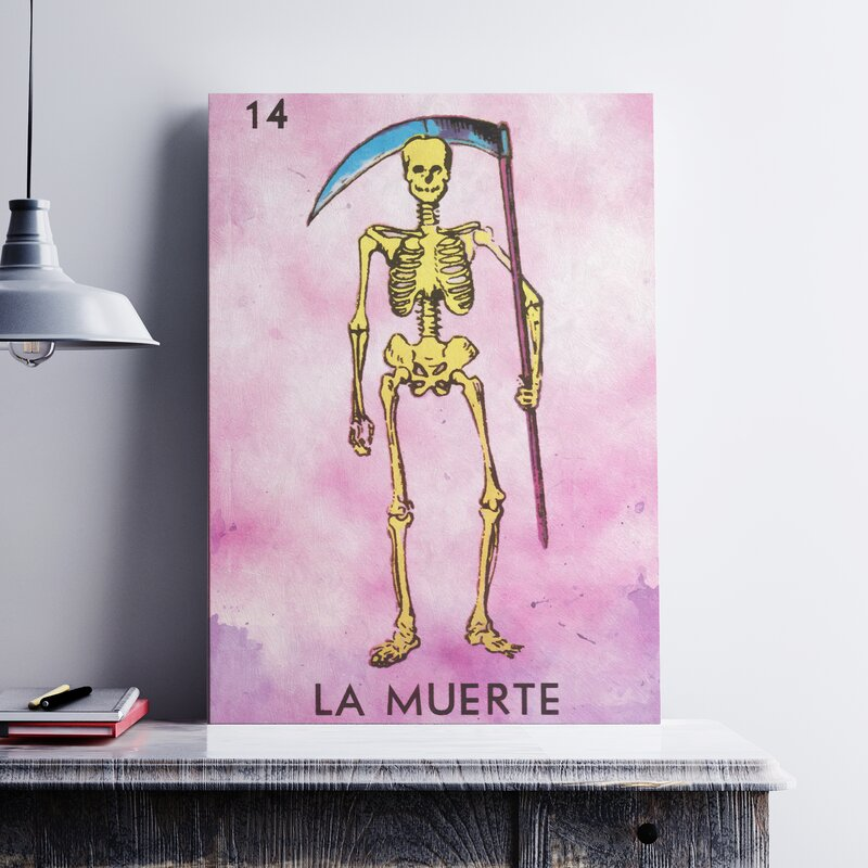 'La Muerte Death' Graphic Art Print on Canvas - Cute Halloween Wall Decor