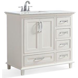 White Bathroom Vanity 36 left offset vanity all bathroom vanities   wayfair
