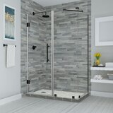 Bromley Frameless with Glass Shelves 42.25 x 72 Rectangle Hinged Shower Enclosure by Aston