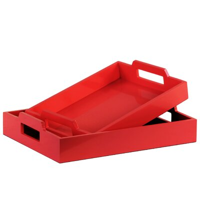 Zipcode Design Hogansville 2 Piece Rectangular Serving Tray Set Color: Red