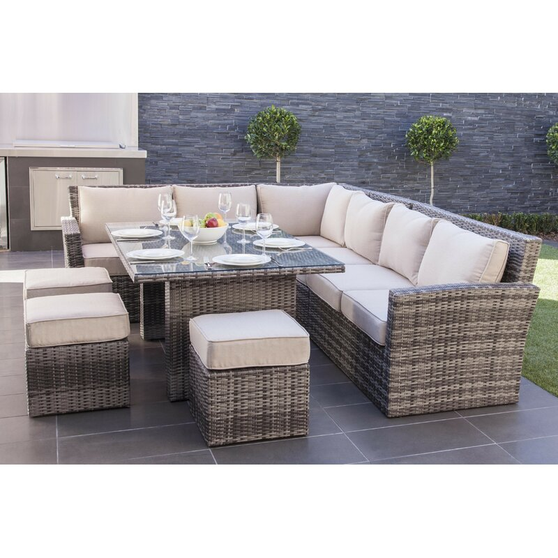 Mercury Row Dengler 8 Piece Rattan Sectional Set with Cushions  Color: Mixed Grey