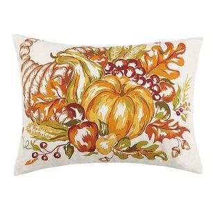 Fall Cornucopia and Pumpkin Sunflower 100% Cotton Lumbar Pillow