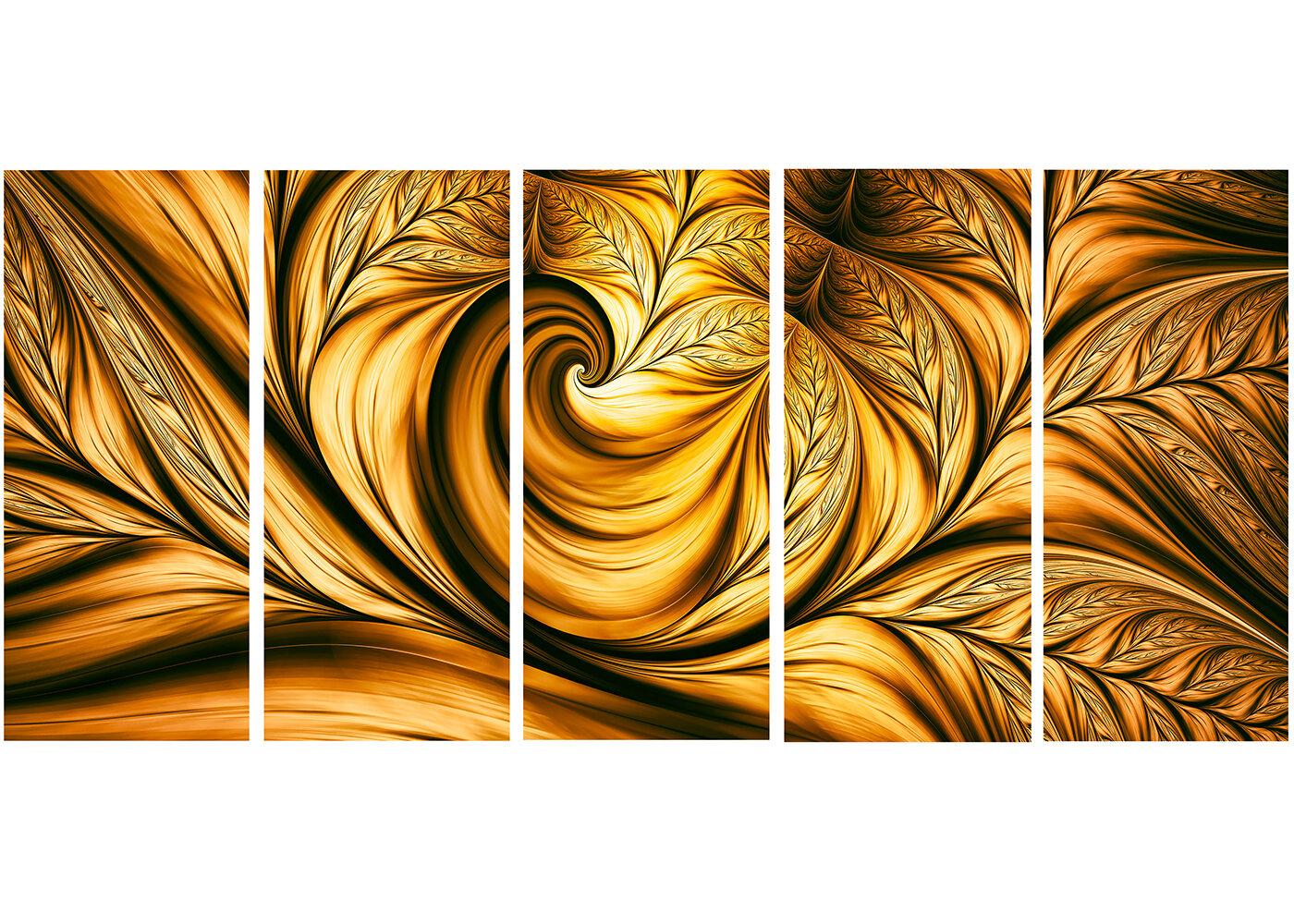 Designart Golden Dream Abstract 5 Piece Graphic Art On Wrapped Canvas Set Wayfair