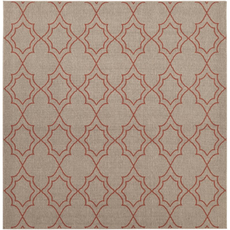 Alcott Hill Amato Taupe/Cherry Indoor/Outdoor Area Rug, Size: Square 89
