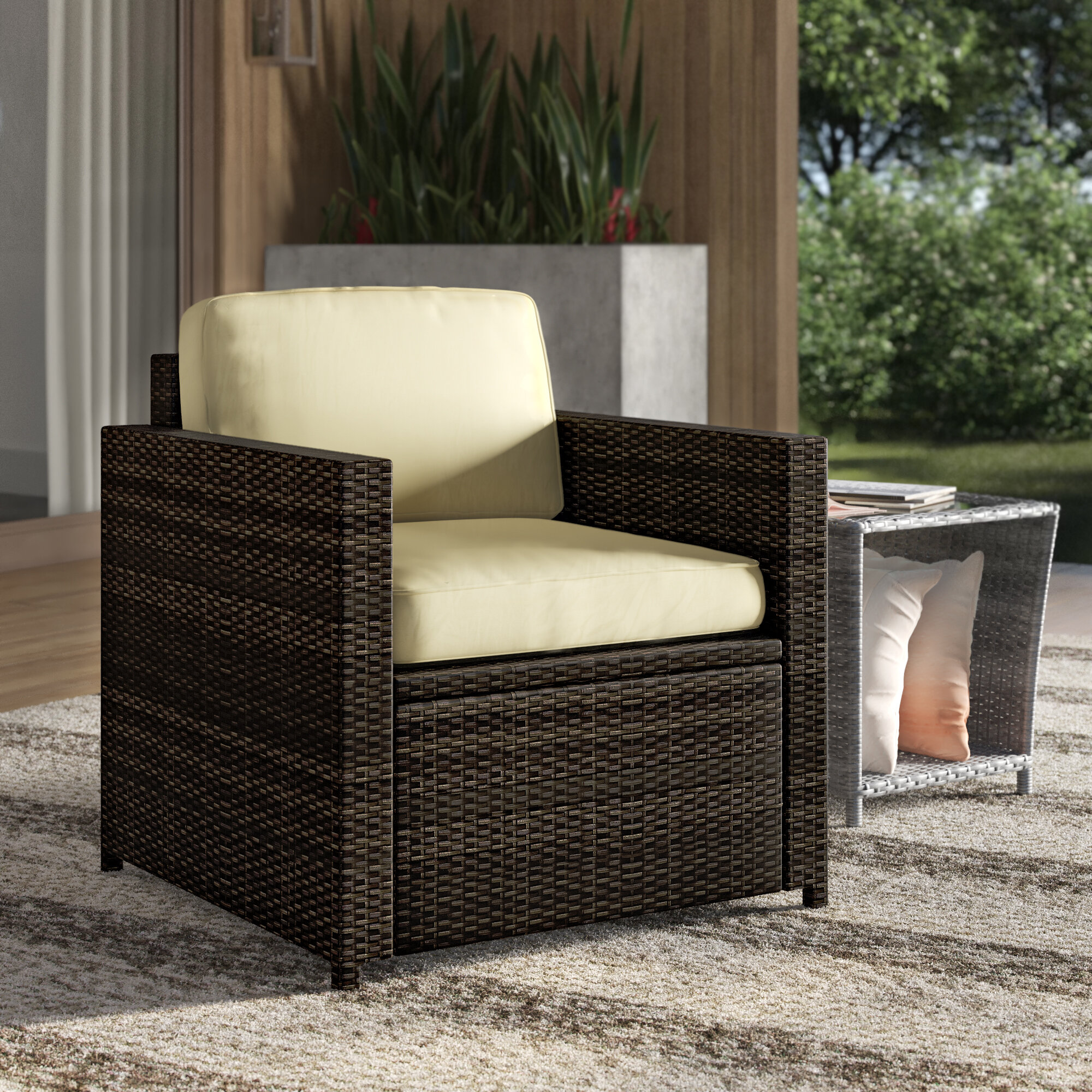 Mercury Row Belton Outdoor Wicker Deep Seating Patio Chair With Cushion Reviews Wayfair