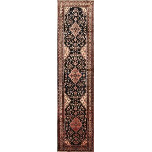 Purchase One-of-a-Kind Lowder Malayer Hamadan Palace Vintage Persian Medallion Hand-Knotted Runner 3'3 x 13'7 Wool Brown/Black Area Rug By Isabelline
