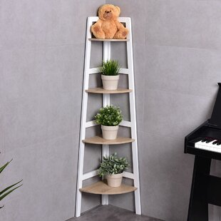 Reviews Call 4-Tier Wood Ladder Wall Display Corner Unit ByWrought Studio