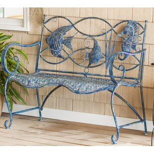 Garden metal furniture Vintage Brynne Blue Fish Metal Garden Bench Doityourselfcom Outdoor Benches Youll Love Wayfair