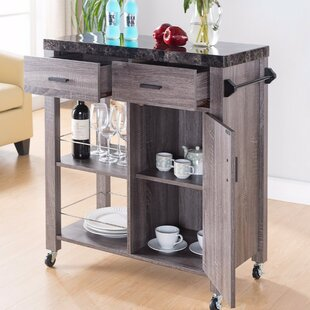 Hawksley Highly Functional Kitchen Cart with Marble Top Loon Peak