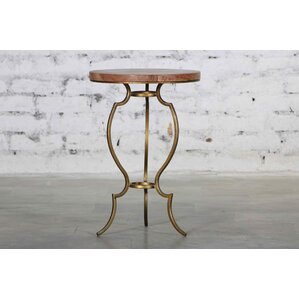 Rea Iron Wooden Top End Table by Everly Quinn