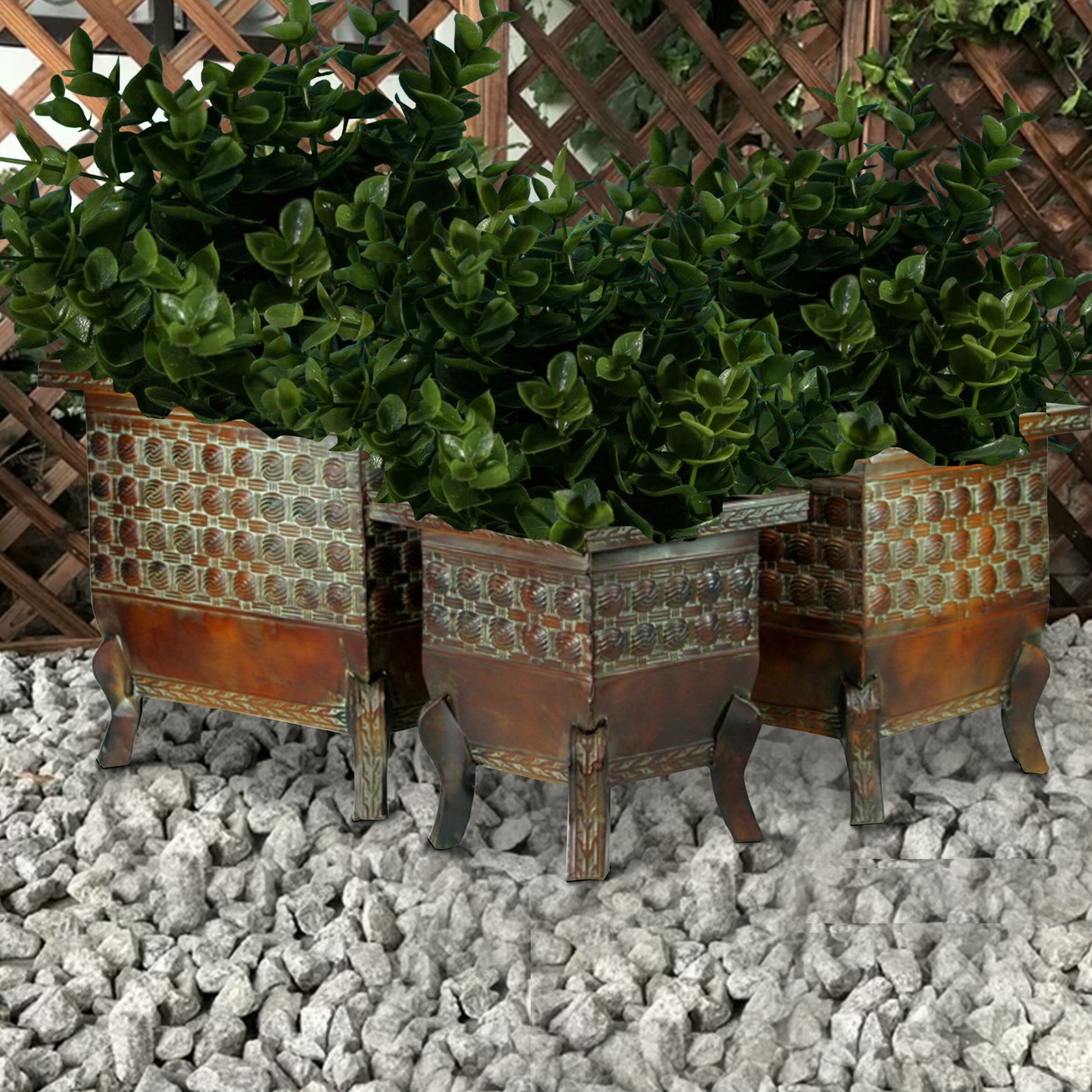 World Menagerie Crites 3 Piece Metal Pot Planter Set Wayfair Ca