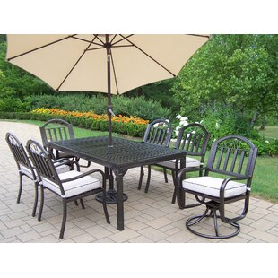 Lisabeth 9 Piece Dining Set with Cushions and Umbrella