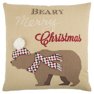 Snow Bear 100% Cotton Throw Pillow