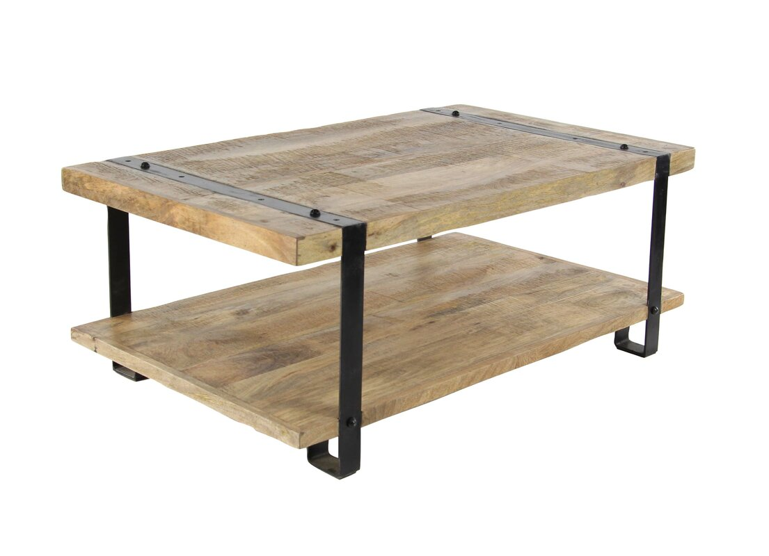 Bianka Industrial Mango Wood and Iron Coffee Table with Magazine Rack. 17 Stories Bianka Industrial Mango Wood and Iron Coffee Table with