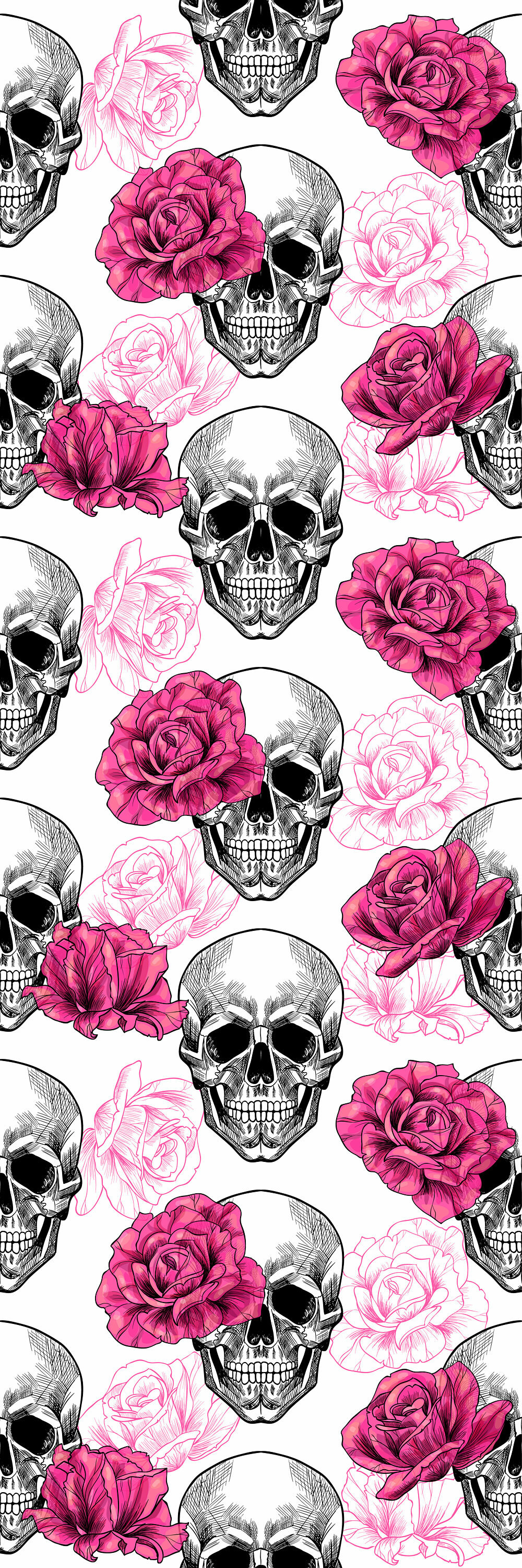 Aston Removable Skull Roses 833 L X 25 W Peel And Stick Wallpaper Roll