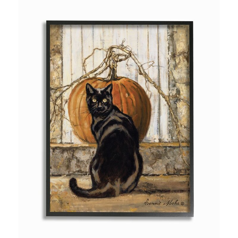 Stupell Industries Black Cat Autumn Pumpkin Seasonal Animal Pet By Bonnie Mohr Unframed Painting Print On Canvas Wayfair