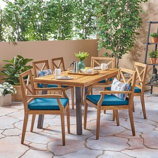 Bungalow Rose Nader Outdoor 7 Piece Dining Set with Cushions