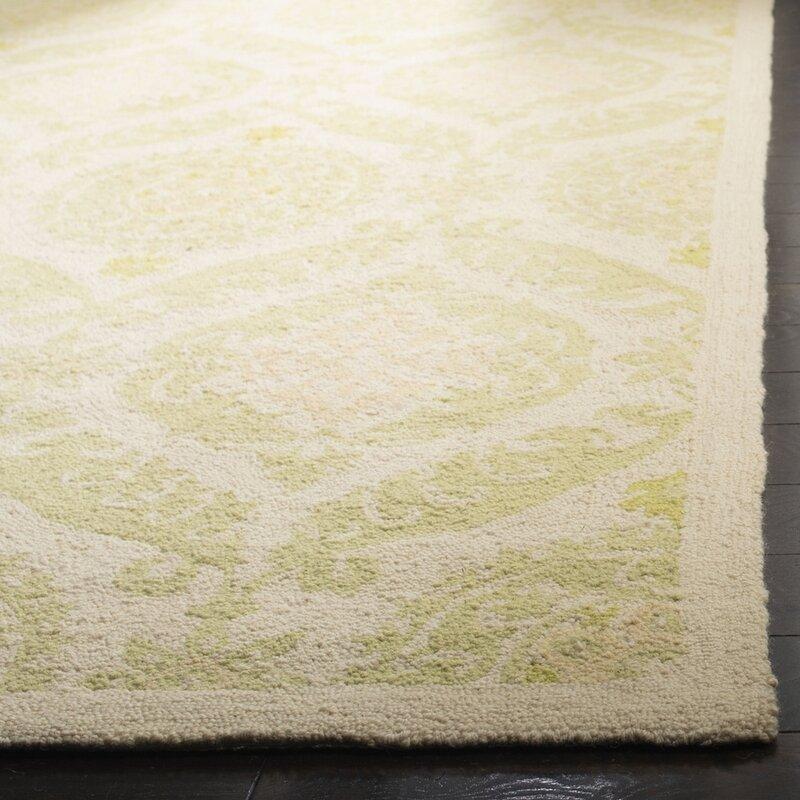 Winston Porter Jonsson Floral Hand Hooked Wool Green Area Rug Reviews Wayfair Ca
