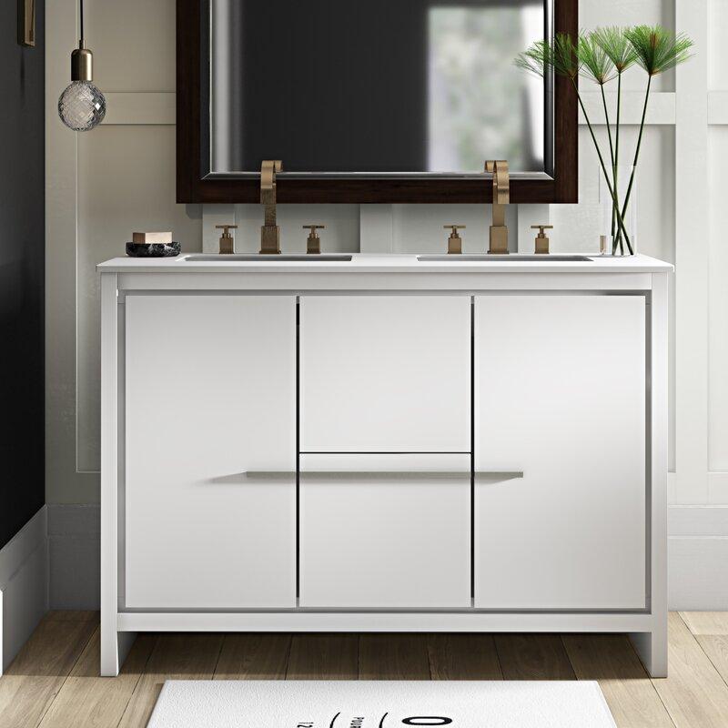 Bosley 48 Double Sink Modern Bathroom Vanity Set