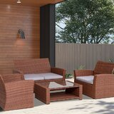 Akiria 4 Piece Rattan Sofa Seating Group with Cushions by Red Barrel Studio®