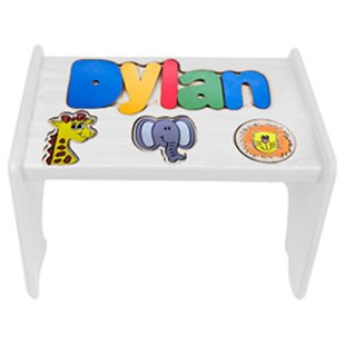 Tobin Child Jungle Themed Wooden Puzzle Personalized Step Stool by Zoomie Kids