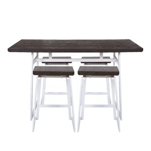 Platane Industrial 5 Piece Counter Height Dining Set