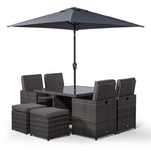 Nikolas 4 Seater Dining Set With Cushions And Parasol By Ebern Designs