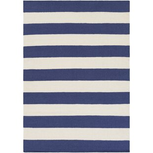 Comparison Stonebridge Hand-Woven Wool Navy/White Area Rug By Breakwater Bay