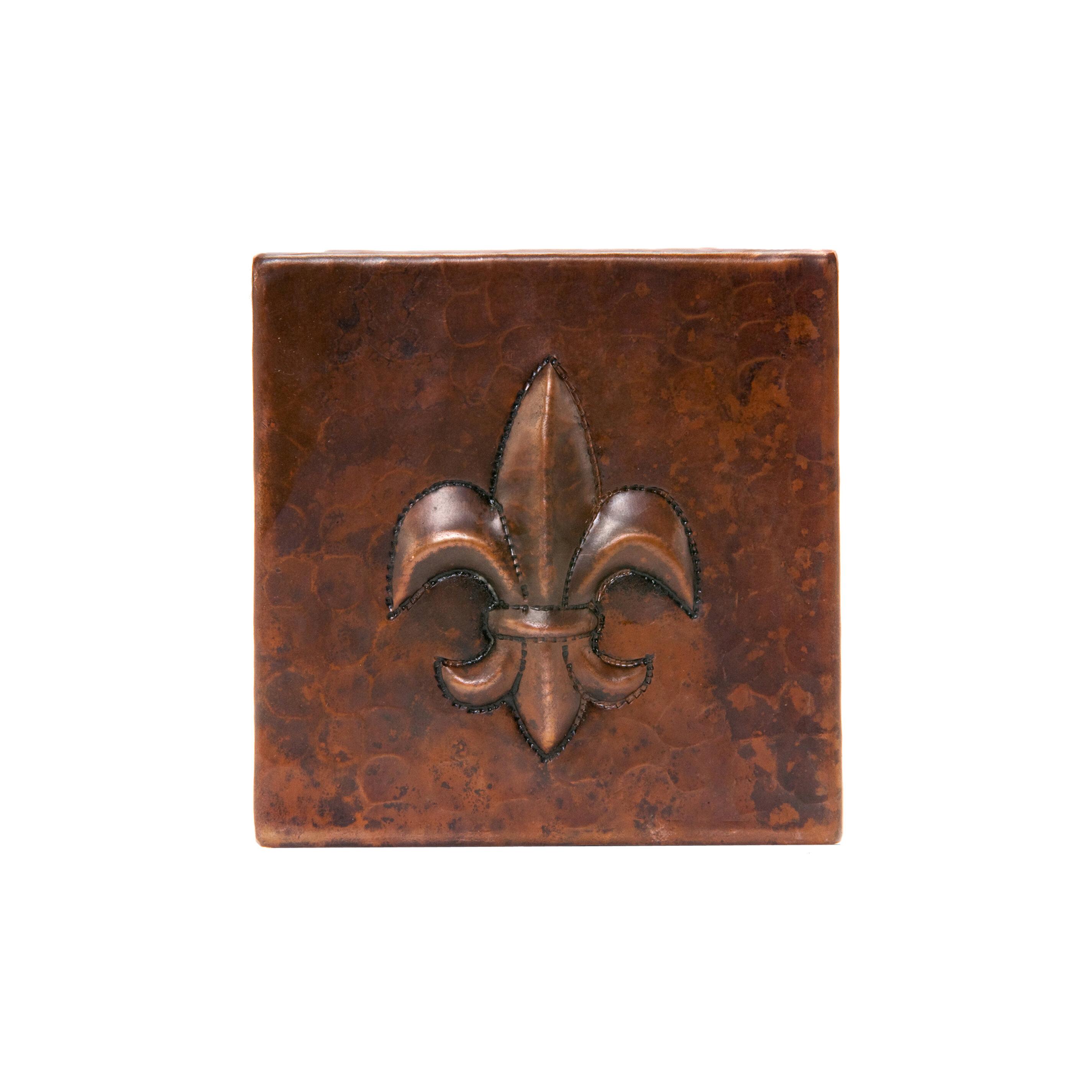 Premier Copper Products 4 X 4 Copper Fleur De Lis Tile In Oil