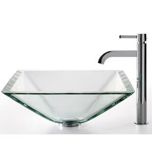 Kraus Square Glass Square Vessel Bathroom Sink with Faucet