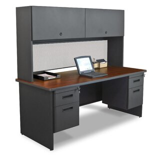Crivello with Double File and Flipper Door Cabinet Computer Desk with Hutch