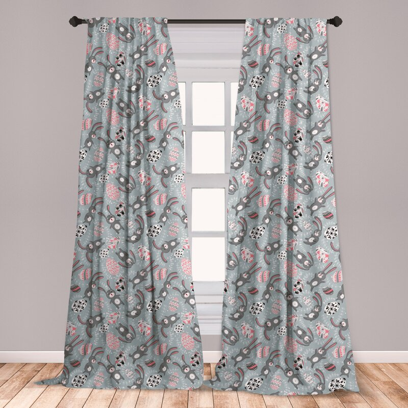 East Urban Home Ambesonne Easter 2 Panel Curtain Set, Kids Toy