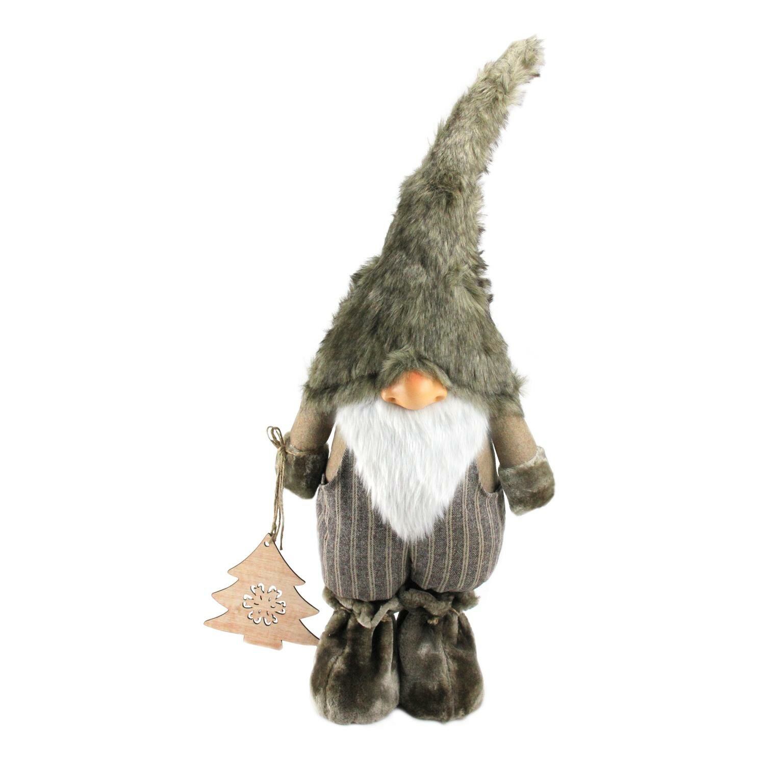 Northlight Woodland Gnome With Striped Pants Holding Christmas Tree Figurine Wayfair