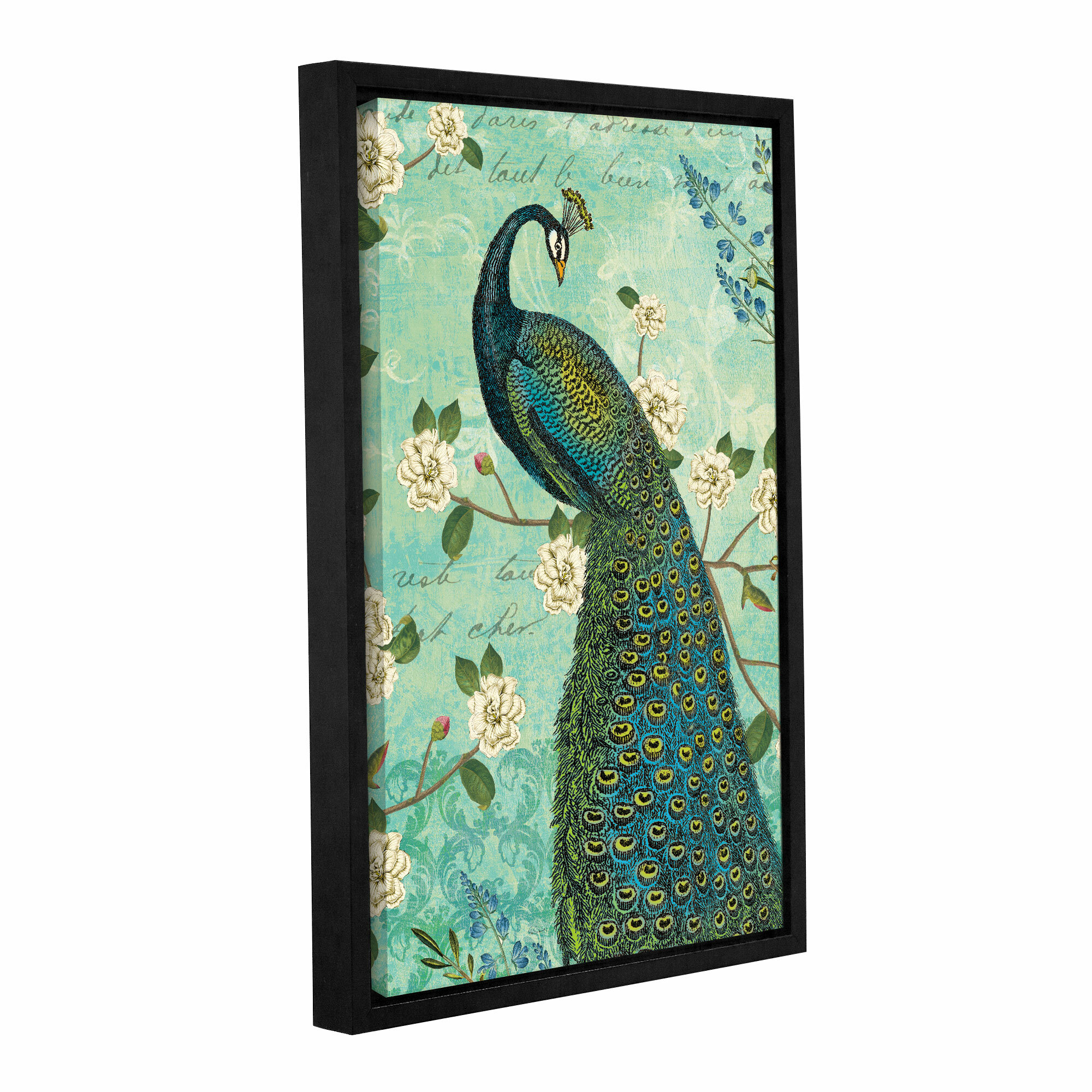 Bungalow Rose Peacock Arbor Iv Framed Graphic Art On Wrapped Canvas Wayfair