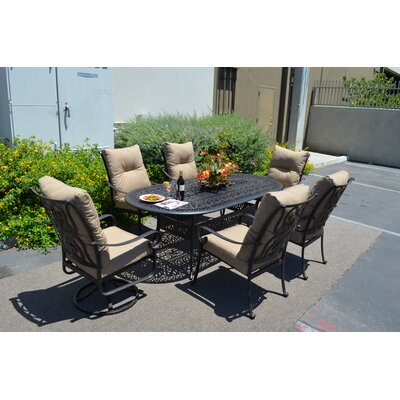 Poulsbo 7 Piece Dining Set With Cushions by Fleur De Lis Living Herry Up