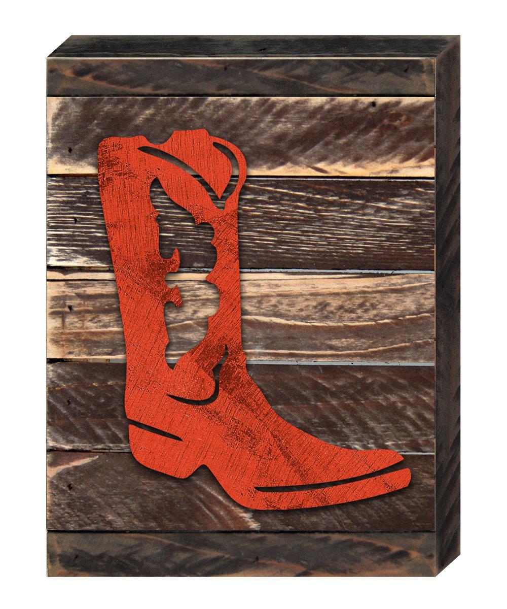 Designocracy Cowboy Boots Art On Reclaimed Wooden Board Wall Decor Wayfair