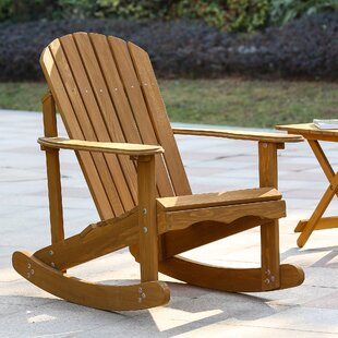 Highland Dunes Chartier Solid Wood Rocking Adirondack Chair