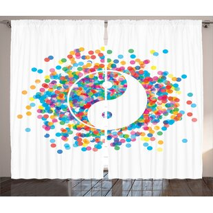 Ying Yang Rainbow Color Confetti Effect Graphic Design Sign Asia Themed Peace Zen Print Graphic Print & Text Semi-Sheer Rod Pocket Curtain Panels (Set of 2) by East Urban Home