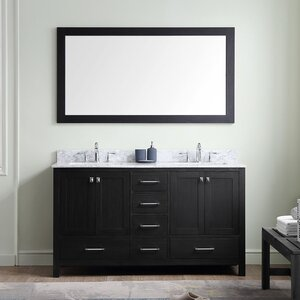 Raishon 60 Double Bathroom Vanity Set with White Marble Top and Mirror