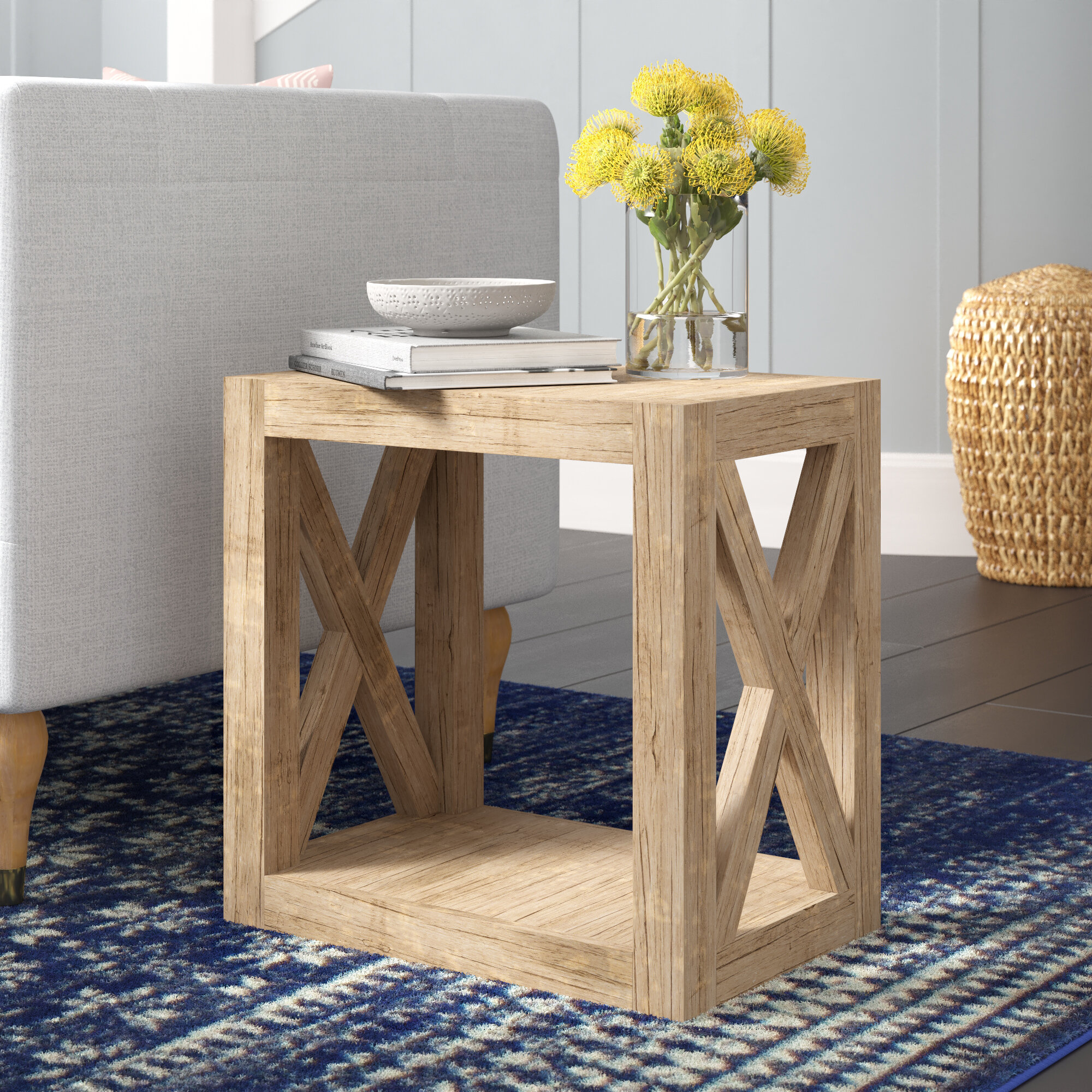Joss Main Wrightstown Solid Wood Floor Shelf End Table Reviews Wayfair