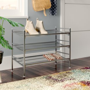 Price Check 3-Tier Multi Position 9-Pair Stackable Shoe Rack By Rebrilliant