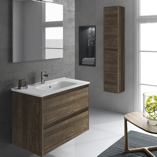 Ambra 24 Single Bathroom Vanity Set Column and Mirror by WS Bath Collections