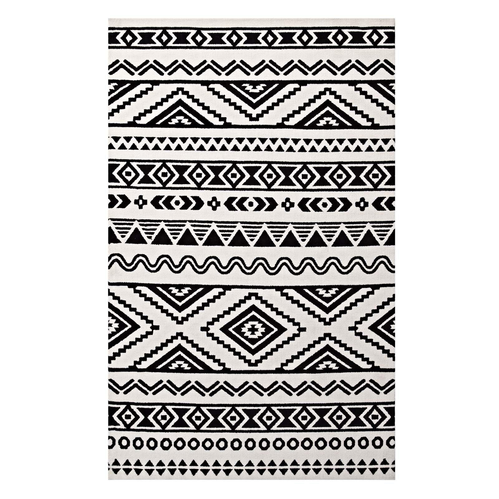 Ivy Bronx Shaun Geometric Moroccan Tribal Black White Area Rug