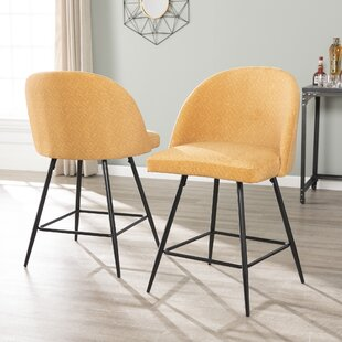 Martina Upholstered Velvet 26 Bar Stool (Set of 2)
