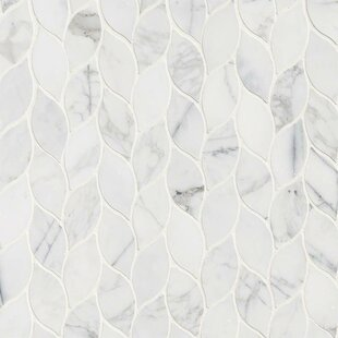 Calacatta Blanco Pattern Polished Marble Mosaic Tile in White