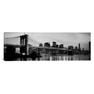 Flowers Brooklyn Bridge Across The East River at Dusk Manhattan New York Canvas Wall Art  sc 1 st  AllModern & Modern u0026 Contemporary New York City Skyline Wall Art   AllModern