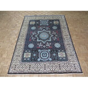Best One-of-a-Kind Best Hand-Knotted Wool Black Area Rug By Isabelline