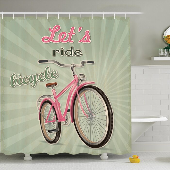 Vintage Retro Pop Art Bike Shower Curtain Set