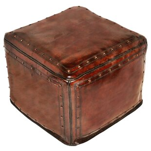 Leather Pouf by New World Trading